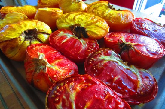 Heirloom tomatoes, as beeeyootiful as jewels.