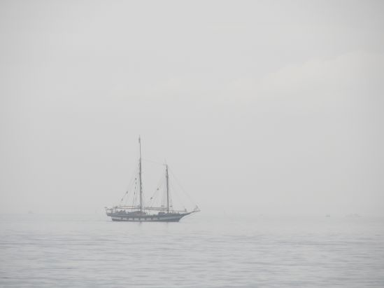 As we pedaled around Sandy Hook, this ship appeared through the mist. I thought it was an hallucination, but Pete seemed sure it was angry locals dressed like pirates, looking for something maraudable.