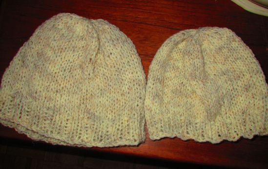You may remember the fellow on the left from such places as yesterday's blog post, when I referred to him facetiously as a hat. Still, I learned so much from knitting that guy I was able to make an actual hat by switching to smaller needles and casting on a number of stitches divisible by four, which a knit-two, purl-two rib needs. It's not pretty, but our friend on the right there is actually a hat.
